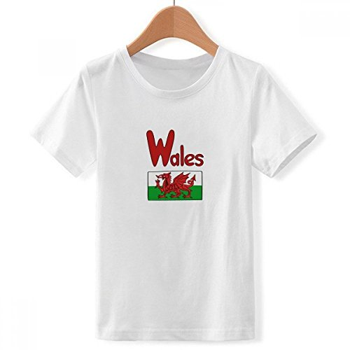 DIYthinker jongens Wales nationale vlag rood, groen, patroon en ronde hals wit T-shirt