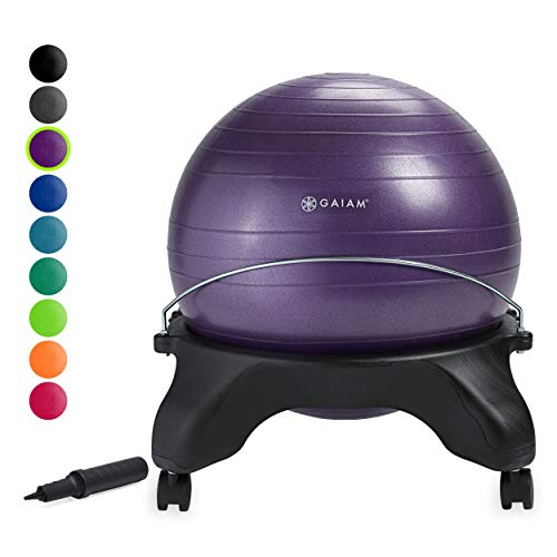 Gaiam Classic Backless Balance Ball Chair – Exercise Stability Yoga Ball Premium Ergonomic Chair...