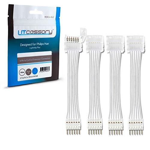 Litcessory Conector de Extensión Extremo Cortado a Conector de 6-Pines para Philips Hue Lightstrip Plus (50mm, Paquete de 4, Blanco)