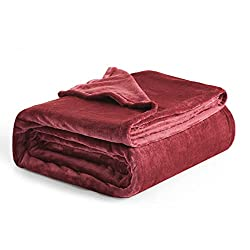 "Flannel Fleece Luxury Blanket Red Queen(90""x90"") Size Lightweight Cozy Plush Microfiber Solid Blanket by Bedsure"