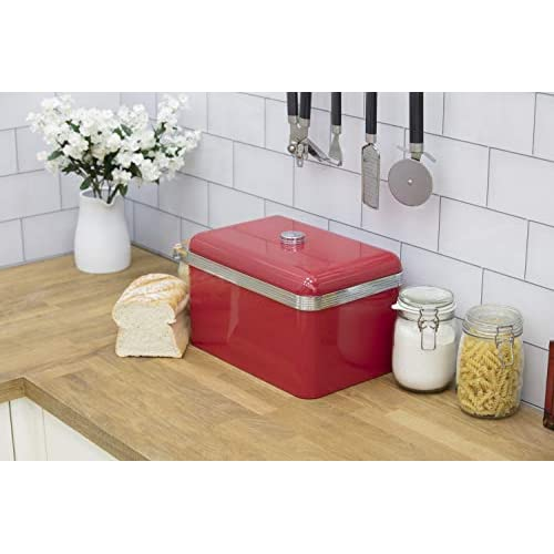 Swan Retro Bread Bin - Red - 18 Litre Storage Capacity