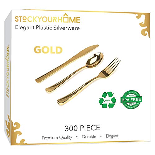 16 best gold plastic cutlery 300 piece combo pack for 2021