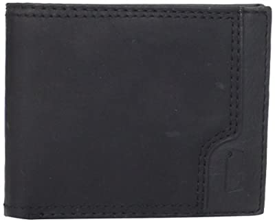 Levi's Men's Leather Passcase Wallet, Charcoal Black, One Size