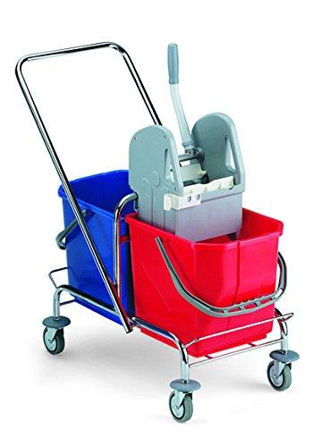 TTS 00006021 trolley, verchroomd, inhoud 30 liter, met Ganas-strepen, met omkeerbare greep