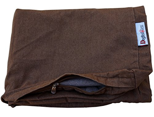 Dogbed4less 47X29X4 Inches Extra Large Size Brown Color Denim Jean Dog Pet Bed External Zipper Cover - Replacement Cover only