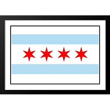 Chicago Municipal Flag Wood 25x29 Framed and Double Matted Photo Print