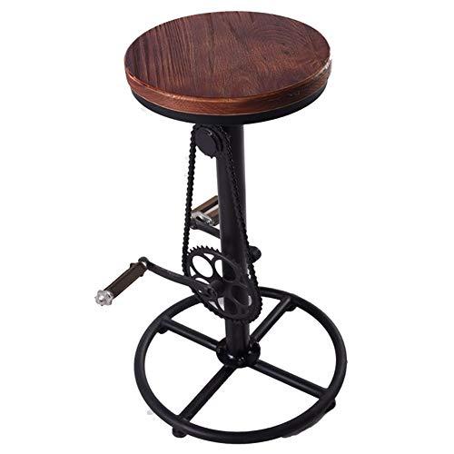 ZHEDAN Taburete de Bar de Madera Maciza, Silla de Ocio giratoria para Bicicleta, Taburete Alto, mesadas de Cocina, Estilo Industrial