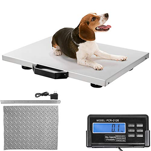 Happybuy Digital Livestock Scale 400Lbs x 0.2Lbs, Pet Vet Scale Large Platform 20.5x16.5 Inch, Stainless Steel Industrial Floor Scale Postal, Shipping Scale, Pig Scale, Dog Weight Scale