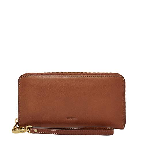 Fossil Women's Emma Leather Large Zip Wallet, Brown