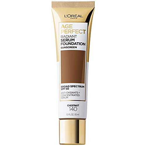 L'Oreal Paris Age Perfect Radiant Serum Foundation with SPF 50, Chestnut, 1 Ounce