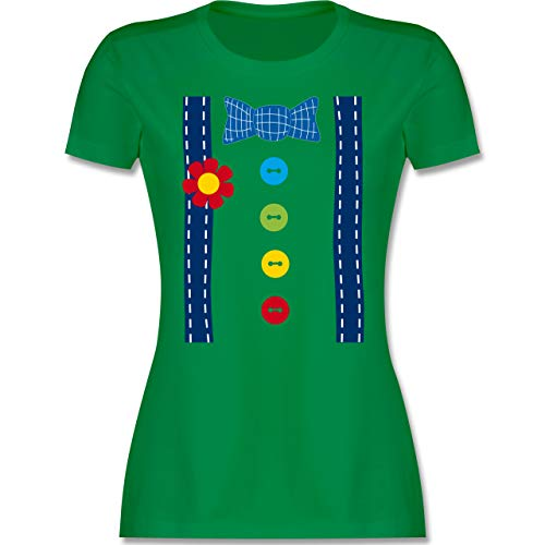 Karneval & Fasching - Clown Kostüm blau - L - Grün - Clown kostüm Damen - L191 - Tailliertes Tshirt für Damen und Frauen T-Shirt