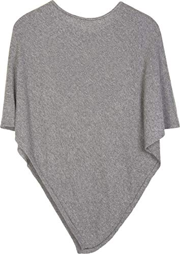 styleBREAKER Damen Feinstrick Poncho in Unifarben, leicht asymmetrischer Schnitt, Ärmellos, Rundhals 08010042, Farbe:Grau