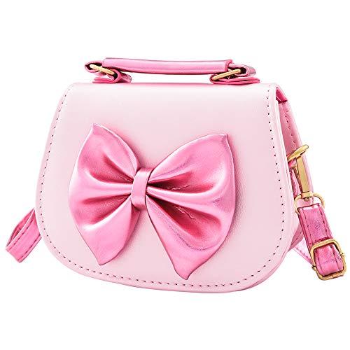 INSOUR Kinder Handtasche, Umhängetasche, mit Schleife, für Kinder Mädchen 3-12 Jahre (Rosa)