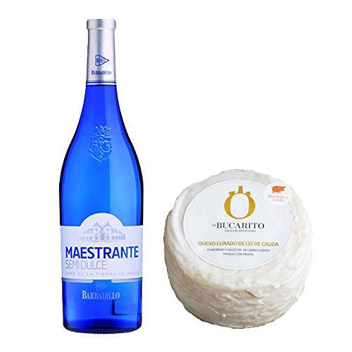 Pack de Vino blanco Maestrante y Queso Curado de Leche Cruda en Manteca - Vino de 75 cl y Queso de 900 g aprox - Mezclanza