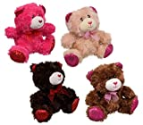 Fuzzy Friends Chocolate Scented Valentine's Day Teddy Bear, 7-inch (Set of 4 - Brown, Tan, Pink, White)
