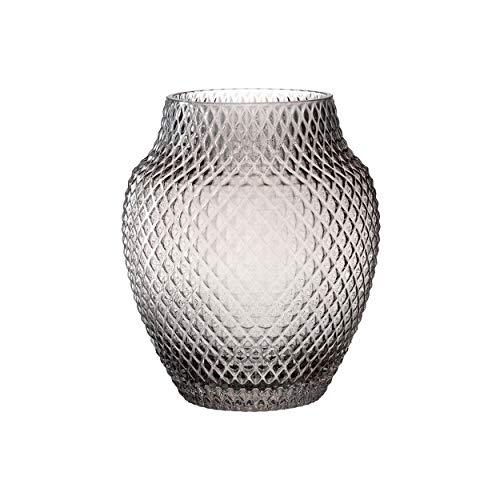 Leonardo Poesia Tisch-Vase, handgefertigte Deko-Vase in Grau, bauchige Blumen-Vase, Kerzen-Halter aus Glas, großes Windlicht, 23 cm hoch, 018673