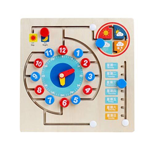 Yx-outdoor Montessori Reloj para niños pequeños Rompecabezas Tablero Ocupado, ejercita la Capacidad cognitiva de los niños, Tablero Ocupado de Madera para Tiempo de educación temprana Juguete