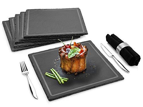 Tafelservice Corners 6 teiliges Geschirr-Service für 6 Personen aus Schiefer, Speiseteller, rustikal, Alltag, besonderes Dinner, Feier, Party, Outdoor, Grillen, Familienessen Teller Set von Sänger