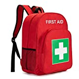 Jipemtra Red Emergency Bag First Aid Backpack Empty Medical First Aid Bag Treatment First Responder Trauma Bag for Preschool Child Care Center Field Trips Camping Daycare (Red)