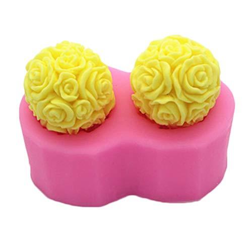 luckything 3D Silikonform Rose Balls DIY Handcrafts Backwerkzeug für die Herstellung von Kuchen Aroma Kerze Gips Dekorieren