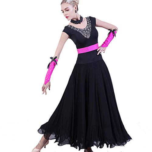 LVLUOKJ Elegante Baile de Salón Vestido de Perlas de Manga Corta, Vals Tango Flamenco Traje de Baile Altamente Elástico (Color : Black, Size : XXL)