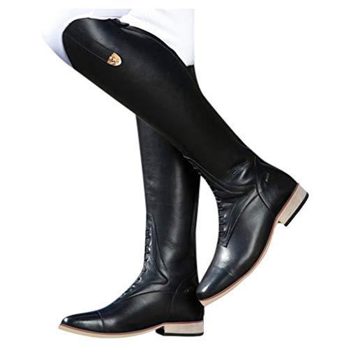 Stivale Donna al Ginocchio Stretch Stivali Alti Eleganti Scarpe Stivali con Zeppa Autunno Inverno Stivali Elastici Alti Stivali Donna Invernali (40,Nero)