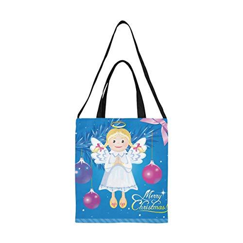 Kleine Leinwand Basteltasche Vektor Gruß Weihnachtskarte Engel Spielzeug Leinwand Geschenktüte Faltbare Tasche Einkaufstüten Druck Große Größe Einfache Schulter Crossbody Strap Work School Shopper