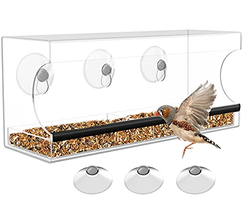 Ouddy Bird Feeder for Outside, 12'' Clear Window Bird Feeders with Strong Suction Cups, Drainage Holes, and 2-Sectioned Removable Tray, Bird Watching Gifts for up-Close, Indoor Bird Watching