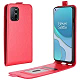 HualuBro OnePlus 8T Case, Retro PU Leather Shockproof Wallet Folio Flip Case Cover with Card Slot Holder and Magnetic Closure for OnePlus 8T Phone Case (Red)