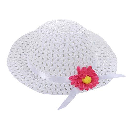 VECDY Gorra Niña, 2019 Moda Sombrero Bebé Niños Niña Verano Floral Flor Paja Visor Sombrero para El Sol Sombreros De Playa Verano Gorra De Pescador Cuadros Protección Solar Sombrero