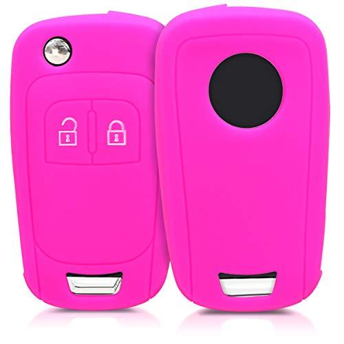 kwmobile Autoschlüssel Hülle kompatibel mit Opel Chevrolet 2-Tasten Klapp Autoschlüssel - Silikon Schutzhülle Schlüsselhülle Cover in Pink