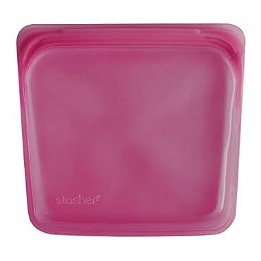 Stasher Reusable Silicone Food Bag, Sandwich Bag, Storage Bag, Raspberry