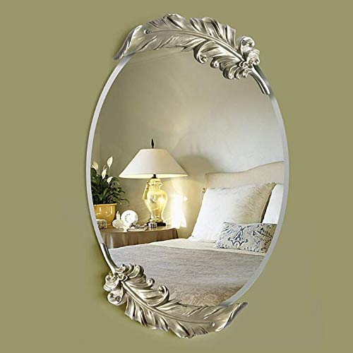 CLX Körperpflege in Feather Spiegel Barock, Barock Oval Spiegel, Spiegelwand Spiegelwand - Spiegel Körperpflege in Feder Idylle Retro, dekorativen Spiegel Antike Schönheit,Gold,Big