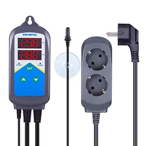 Preisvergleich Produktbild Inkbird Aquarium ITC-306T Thermostat Steckdose 220V,  wasserdichte Kunststoff Sonde mit Saugnapf für Salzwasser Fisch