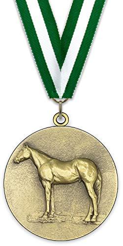 Emblemarket Medalla de Metal Personalizable - Caballo - Color Oro - 6,4cm - Cinta Incluida - Verde-Blanco-Verde