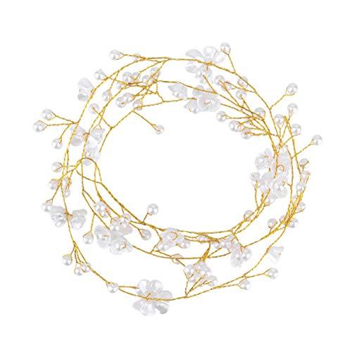 Lurrose 1 unid elegante banda para el cabello cadena perla pelo aro...