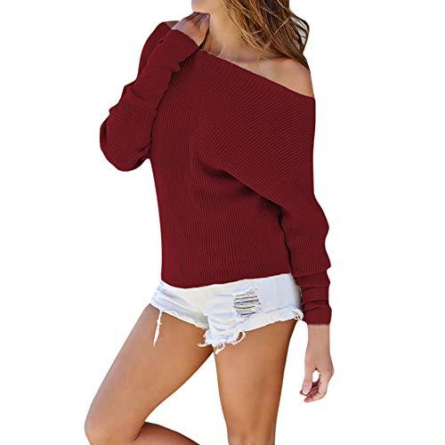 Cardith Gebreide trui voor dames, elegant, eenkleurig, lange mouwen, blouse