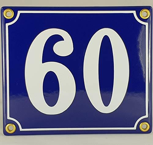 Emaille Schild Hausnummer 60 Blau-Weiß
