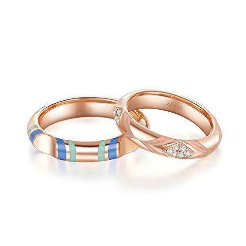 Daesar Anillos de Compromiso Mujer Hombre Oro 18K Oro Rosa Anillos Redondo con Esmalte Diamante Blanco 0.004ct Talla Mujer 16 & Hombre 30