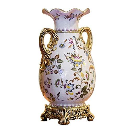 ZXL Europese stijl keramische bloem vaas, 40 cm hoog pot met hars basis, dubbele oor mal, ideaal eettafel decoratie, tafel, wit middelpunt