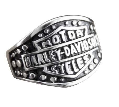 Lovelegis Anello da Uomo - Motociclista - Metallaro - Moto - Harley - Motor Cycles - Punk - Rock - Hard - Metal - Colore Argento - Misura IT 16