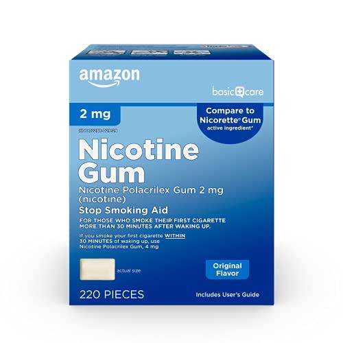 Amazon Basic Care Nicotine Polacrilex Uncoated Gum 2 mg (nicotine), Original Flavor, Stop Smoking...