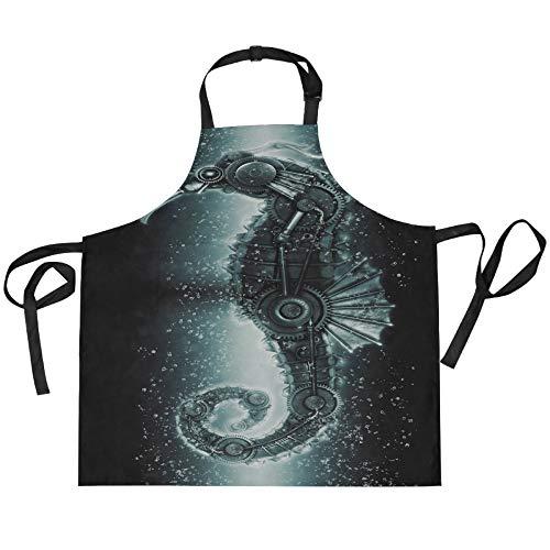 ADMustwin Delantales para mujeres y hombres, diseño de caballito de mar, ajustable, con 2 bolsillos, 27.5 x 29 pulgadas