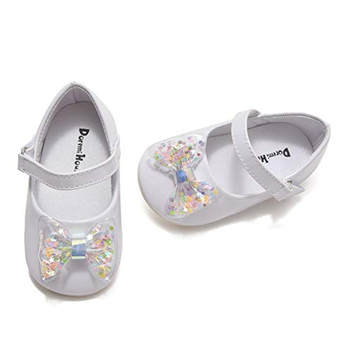 Comway Infant Toddler Mary Jane Ballerina Flats Shoes Non-Slip Bowknot Princess Party Dress Shoes Size 1-5(D4-White,1 Infant)
