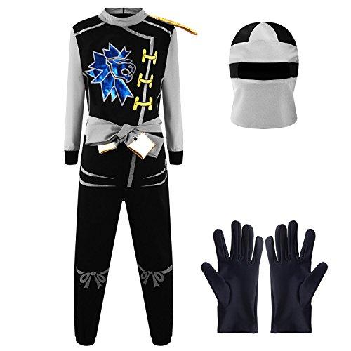 Katara 1771-12 1771 - Ninja Kostüm Anzug, Kinder, Verkleidung Fasching Karneval, Größe L, Grau Schwarz