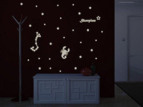 Bilderdepot24 Wandtattoo Leuchtfolie Sternzeichen Skorpion - Fluoreszierend und Nachtleuchtend