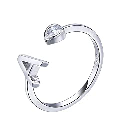 RING SIZE: J, this letter A ring can be lightly adjusted to K at a maximum. Material: 925 Sterling Silver+Cubic Zirconia. This unique design initial ring will go great with any type of wearing and make you eye-catching wherever you are. This letter r...