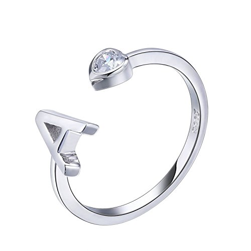 VIKI LYNN Women Ladies Girls 925 Sterling Silver Open Adjustable Tail Ring A Initial Rings Size J