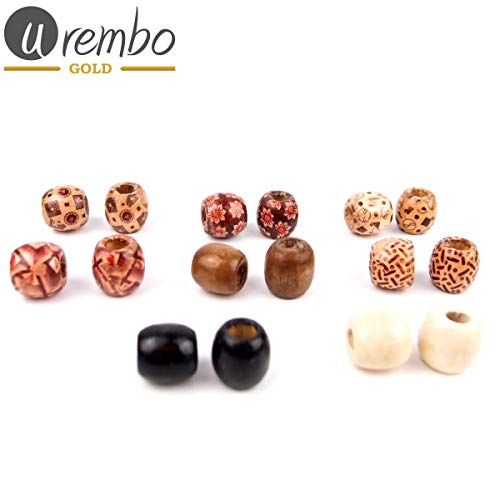 Urembo Gold Wooden Hair Beads Perles en bois