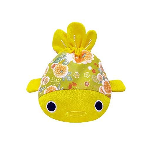 BARbee Japanese Traditional Chirimen & Kimono Print Fabric Sewing Craft Cute Goldfish Cosmetic Jewelry Key Pouch Coin Purse Drawstring Bag for girls women kids boys (Large, Yellow)